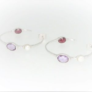 STG Silver (Rhodium Plated) Amethyst, Fresh Water Pearl & Garnet Hoop Earrings