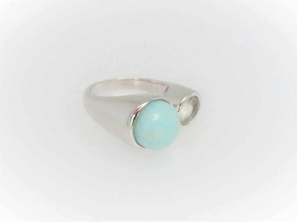 STG Silver Larimar & Green Amethyst Ring