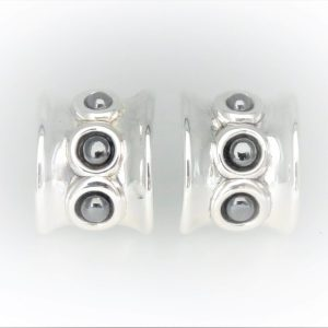 STG Silver French Omega Posts Hematite Earrings