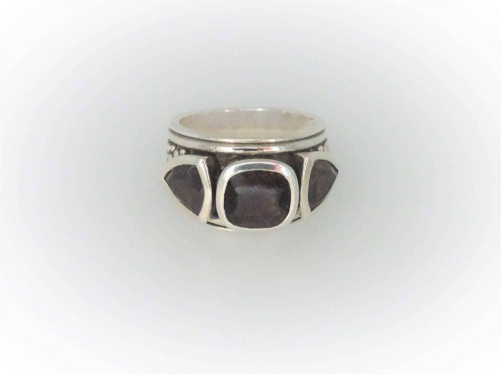 STG Silver Smoky Quartz Ring