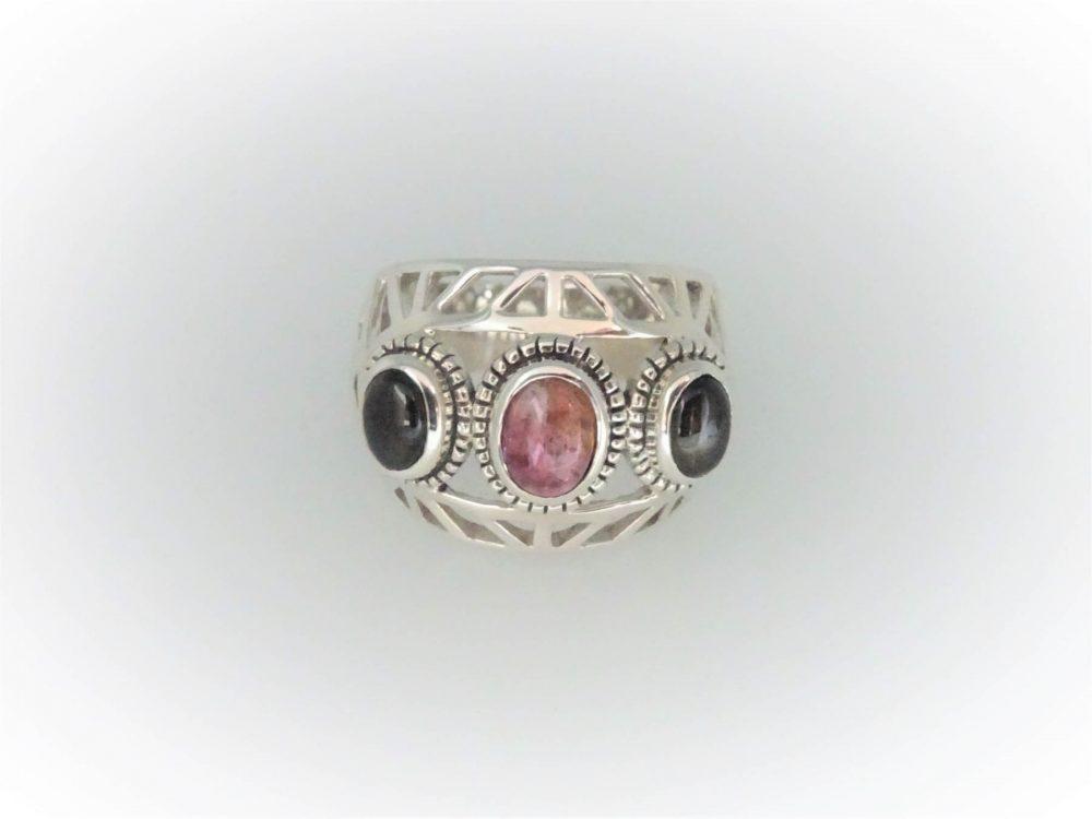 STG Silver Green & Pink Tourmaline Ring