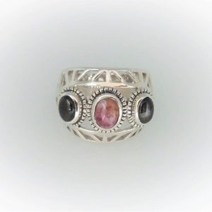 STG Silver Green & Pink Tourmaline Ring