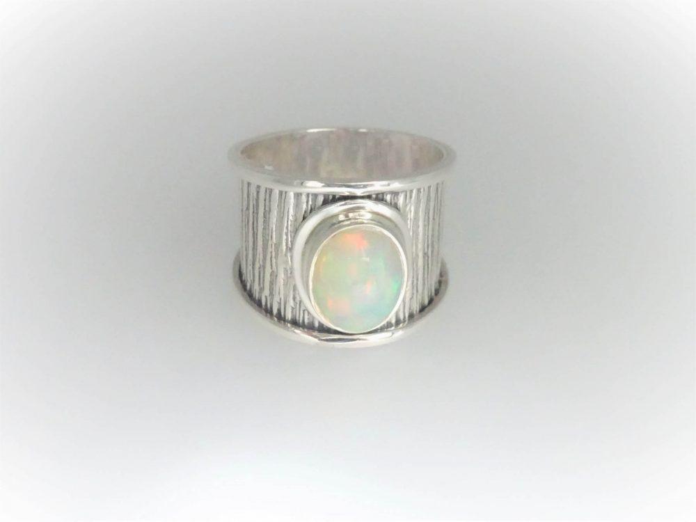 STG Silver European Opal Ring