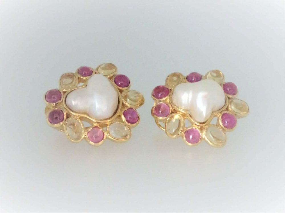 STG Silver (Yellow Gold Plated) Pearls, Citrine & Ruby Earrings