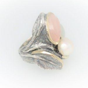 Handcrafted STG Silver & 9KYG Pearl, Beryl & Moonstone Ring