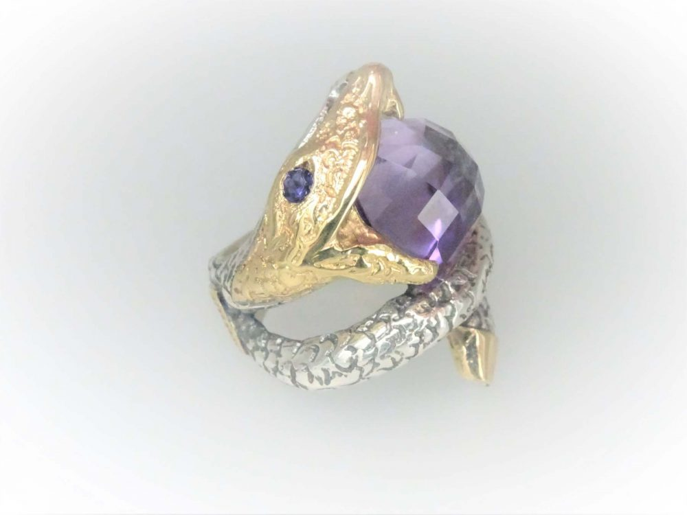 Hand Crafted STG Silver & 9KYG Amethyst Ring