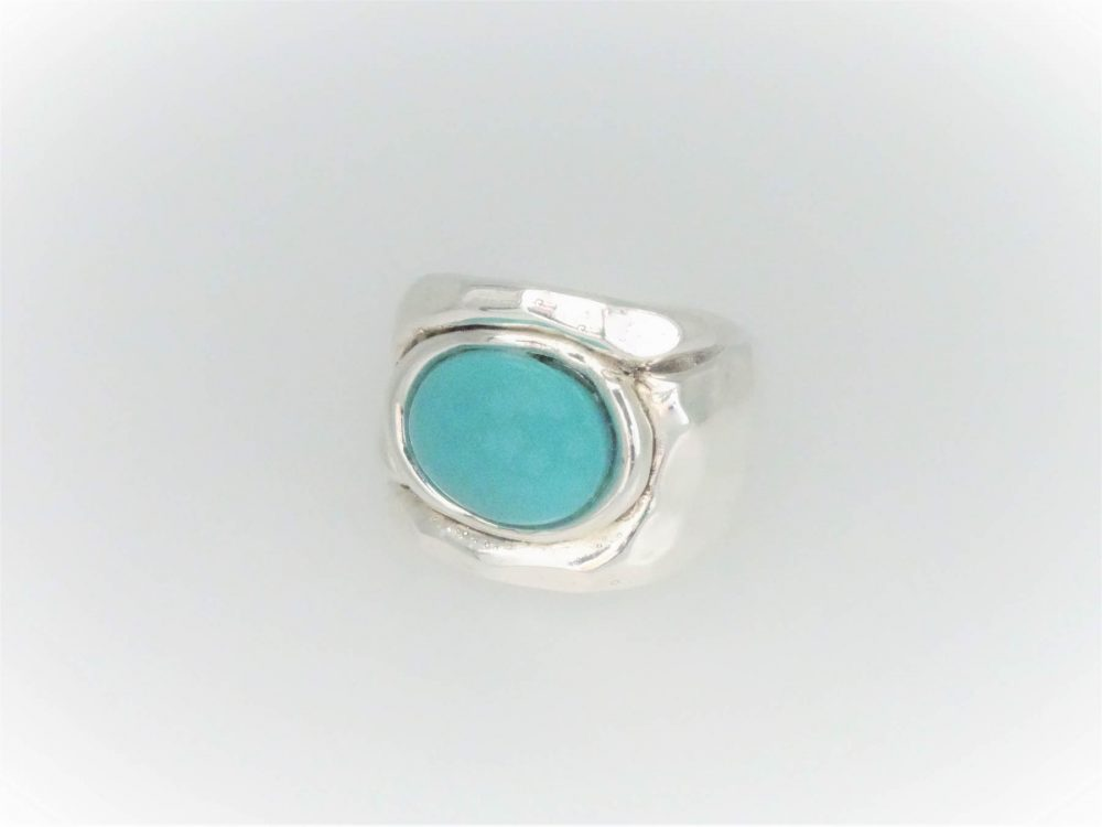 Handcrafted STG Silver Turquoise Ring
