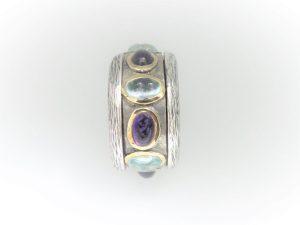 Handcrafted STG Silver & 9KYG Amethyst & Blue Topaz Ring